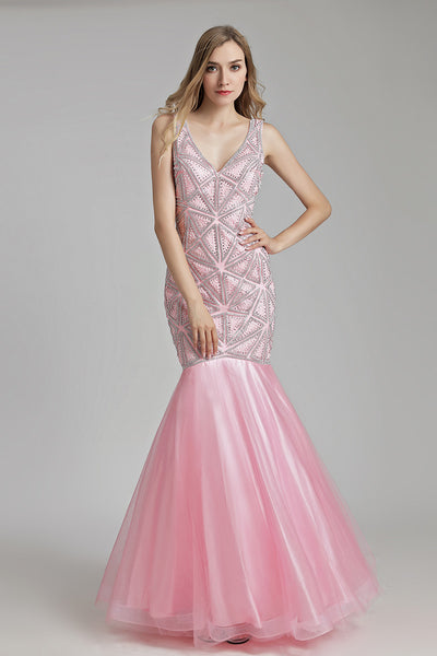 Luxury Long Mermaid V-neck Beaded Prom Dress, LX488