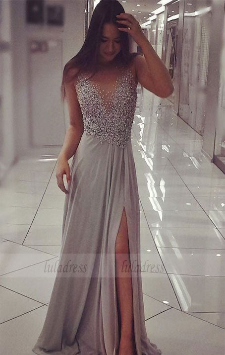 Unique Prom Dress,Chiffon Sparkly Beaded Prom Dress with Slit,Sexy Long Formal Dresses,BD99916