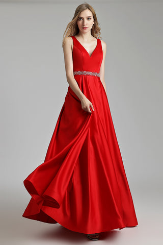Simple Red A-line Long Prom Dress, LX491