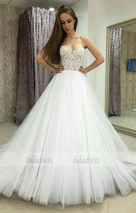 Strapless Sweetheart Lace Tulle Ball Gown Wedding Dress,BD99438