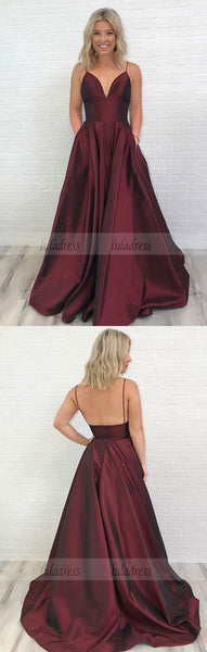 Charming Burgundy V-Neck Long Prom Dress with Pockets,Backless Evening Dress,BD99568