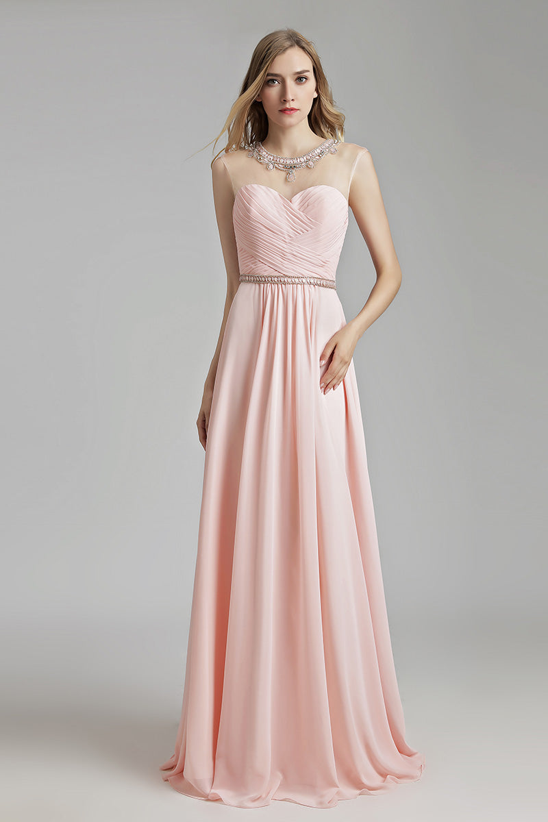 Light Pink Chiffon Simple Long Prom Dress, LX510