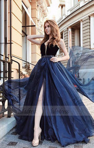 A-Line V-Neck Long Prom Dress Split Evening Dress,BD99569