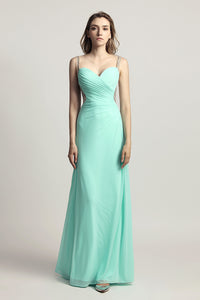 Mint Green Chiffon Long Prom Dress Charming Evening Dress, LX467