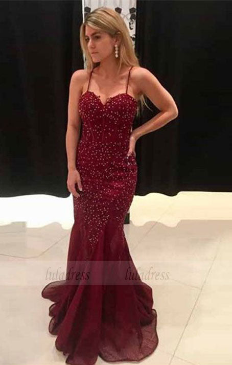 Mermaid Spaghetti Straps Sweep Train Burgundy Beaded Prom Dress,BD98683