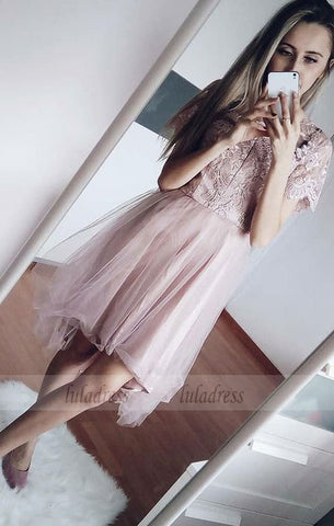 A-Line  Short Sleeves Blush Homecoming Dress with Lace,BD99519