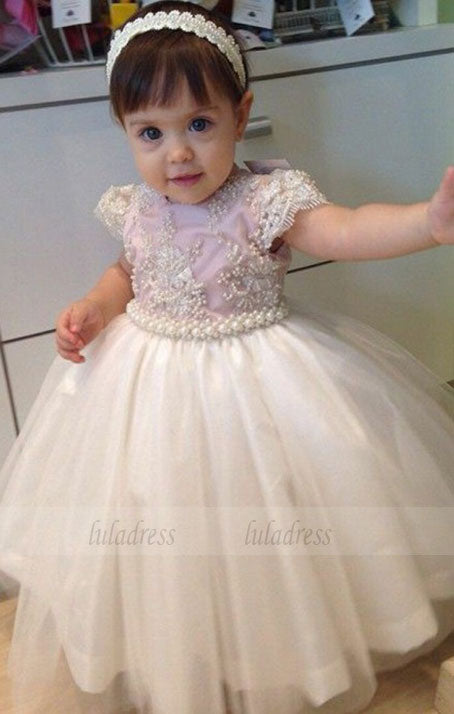 Ball Gown Round Neck Cap Sleeves Light Pink Tulle Flower Girl Dress with Pearls,BD99831