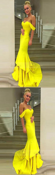Off The Shoulder Prom Gown,Mermaid Prom Dress,Yellow Formal Dress,BD99900