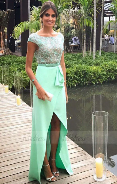 Beading Bodice Backless Prom Long Dresses with Cap Sleeves,BD98508