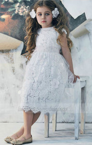 White Cap sleeves lace dresses Scoop Sash Tea Length Tulle girl dress,BD99740
