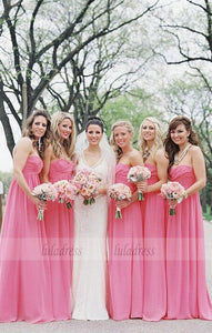 Custom Made Pink Ruched Sweetheart Neckline Floor Length Chiffon Bridesmaid Dress,BD99389