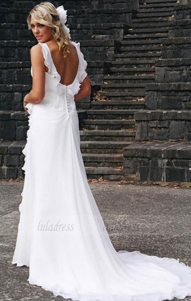 Beach Wedding Dresses,Bridal Dress with Train,Chiffon Wedding Dress,Ruffled Bridal Dress,BD99792