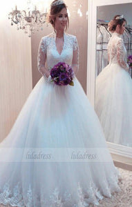 V Neck Ball Gown Wedding Dress with Long Sleeves,BD99582
