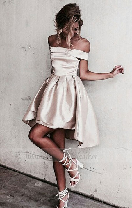 Off-the-shoulder Popular Short Party Dress,Mini Cheap Homecoming Dress