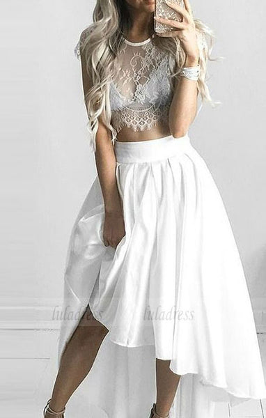 Short Princess Prom Dresses, White Sleeves With Lace High-Low Prom Dresses,BD98170
