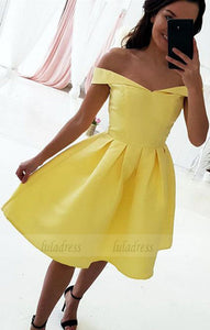 Yellow Homecoming Dresses,Yellow Bridesmaid Dresses,Short Prom Dresses,Short Cocktail Dresses,BD98047