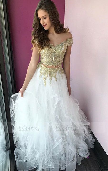Princess Off the Shoulder Two Piece Gold and White Tulle Long Party Dress,BD98224