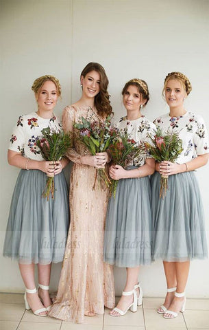 Tulle Bridesmaid Dresses With Floral, Bridesmaid Dresses with Short-Sleeves, Elegant Bridesmaid Dress,BD98128