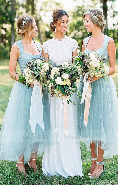 Long Bridesmaid Dress,Tulle Bridesmaid Dress, High-Low Bridesmaid Dress,BD98992