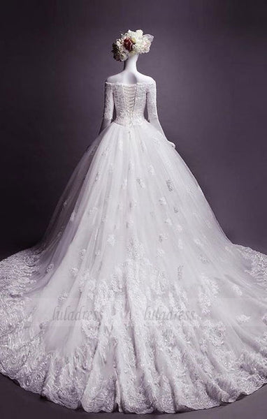 Fashion off-the-shoulder Appliques wedding dresses, classic Half Sleeves bride Dress,BD98323
