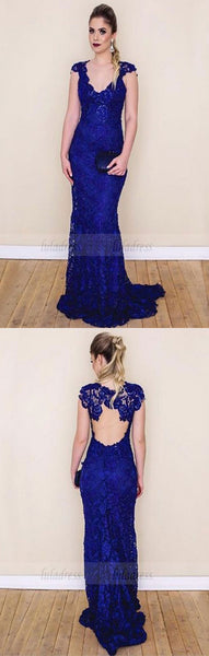 simple v neck cap sleeves evening gowns,unique open back lace party dresses,BD98734