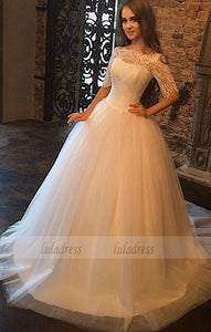 lace wedding dress,wedding gowns,Half Sleeve Wedding Dress,Ball Gown Wedding Dress,BD99440