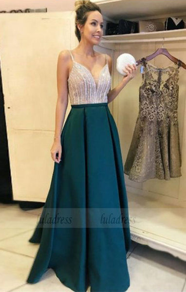 A-Line V-Neck Floor-Length Dark Green Satin Prom Dress with Beading,BD99658