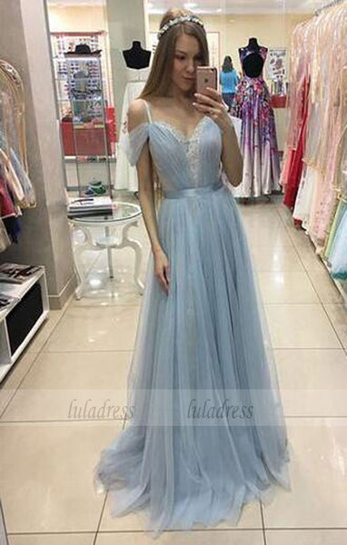 A-line Sweep Train Baby Blue Formal Dress Cap Sleeves Beautiful Straps Tulle Prom Dress,BD99260
