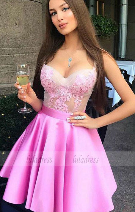 A-Line Spaghetti Straps Above-Knee Pink Prom Homecoming Dress with Appliques,BD99505