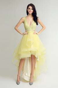 Bright Yellow High Low V-neck Chic Prom Dress, BS19