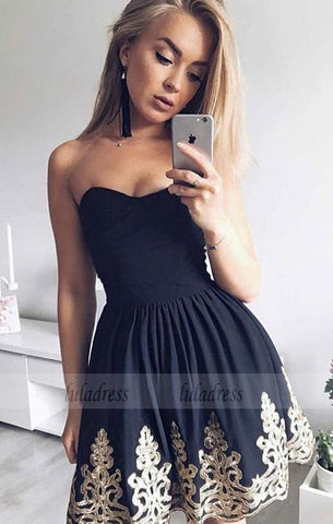 A-Line Sweetheart Short Black Homecoming Dress with Appliques Pleats,BD99507