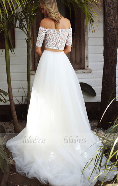 Short Sleeve Bridal Dress, Tulle Wedding Dress, Lace Wedding Dress,BD99443