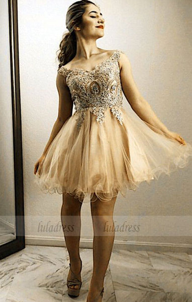 Gold Lace Embroidery Homecoming Dresses Off Shoulder Prom Cocktail Dress,BD99573