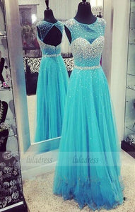 Sequins Evening Gown,Open Backs Evening Dress,Tulle Prom Dresses,BD99262