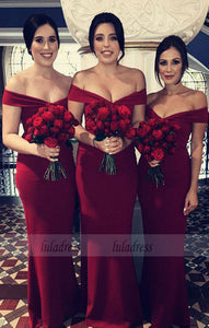 Simple V-neck Off The Shoulder Mermaid Floor Length Bridesmaid Dresses,BD99574