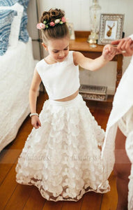 Two Piece Round Neck White Lace Flower Girl Dress,BD99834