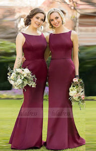 Fashion Sheath Bateau Burgundy Satin Long Bridesmaid Dress,BD99596