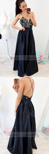 A-Line Spaghetti Straps Backless Floor-Length Black Prom Dress with Lace,BD99544