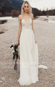 Open Back Wedding Dresses,Boho Bridal Dress,Beach Wedding Dress,Long Wedding Dress,BD99796