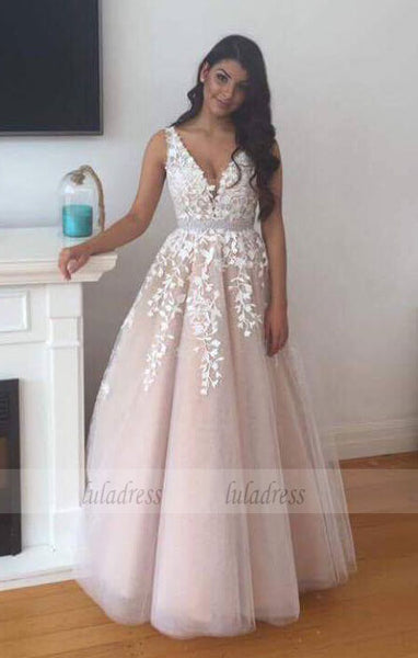 Floor Length V Neck Prom Dress with Lace,BD99470