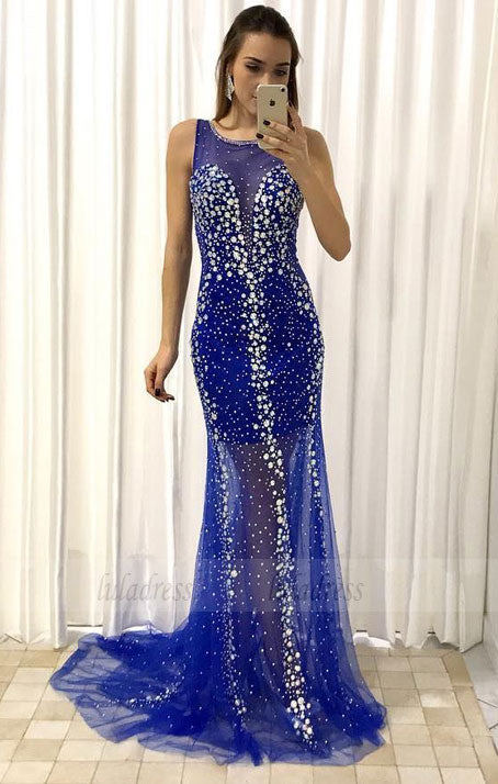 Luxury Crystals Beaded Tulle Mermaid Evening Dress Pageant Prom Gowns,BD98510
