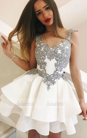 A-Line Round Neck Short White Tiered Homecoming Dress with Appliques,BD99512
