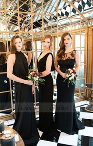 Long Bridesmaid Dresses Chiffon, High Neck Black Bridesmaid Dresses, Open Back Mismatched Bridesmaid Dresses,BD98120