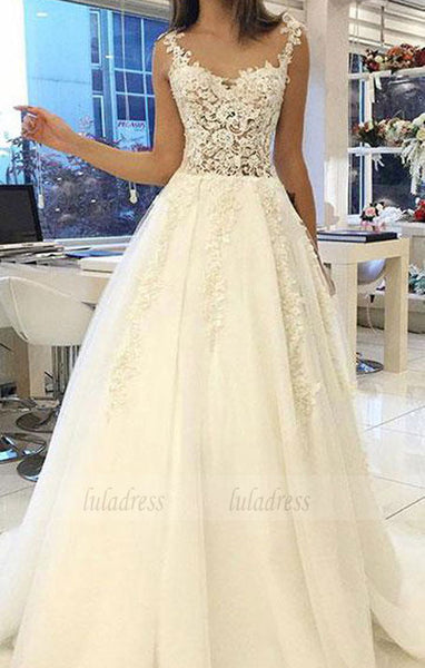 lace tulle long prom dress, wedding dress,BD99021