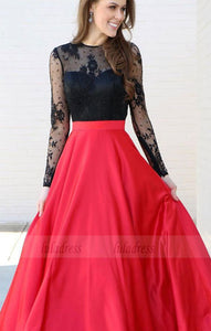 Long Sleeves Black and Red Long Prom Dress Party Dress,BD98225