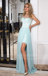 Chiffon Prom Dress, Long Evening Dress with Slit, Strapless Lace Prom Dresses,BD99044