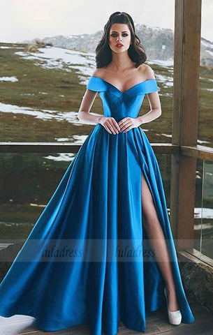 Elegant Satin Prom Dresses Off The Shoulder Long Prom Gowns,BD98626