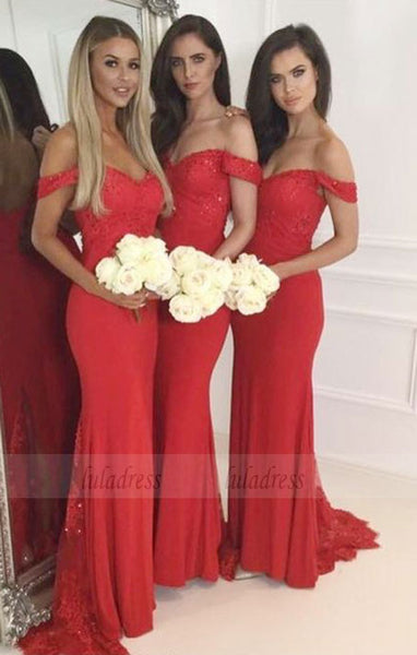 chic mermaid bridesmaid dresses, red off shoulder wedding party gown,BD98272