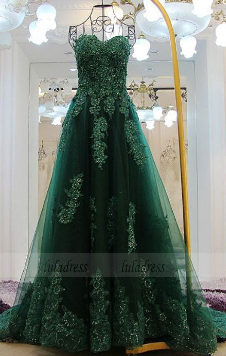 Green Floor length Prom Dresses, Floor-length Long Prom Dresses, Sweetheart Lace Beading Long Green A-line Modest Prom Dresses,BD98169