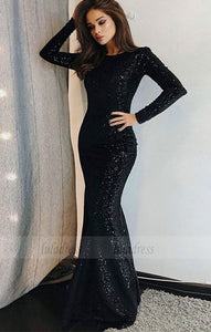 Unique Prom Dress Long Sleeve Evening Dress Black Prom Gowns Sequined Evening Dresses,BD98048